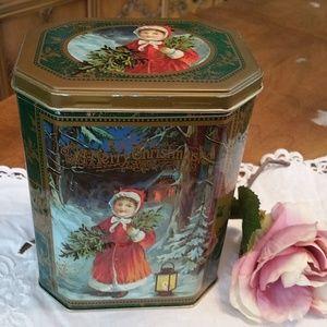 Vintage Christmas Victorian Girl Green Candy Tin